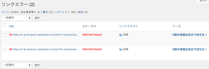Broken Link Errorメール