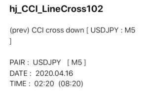 CCI、ラインタッチ・クロス確定で通知するインジケーター|メール受信例