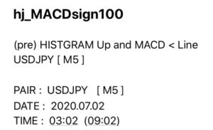 MACDヒストグラム反転通知インジケーターメール通知