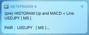 MACDヒストグラム反転通知インジケータープッシュ通知