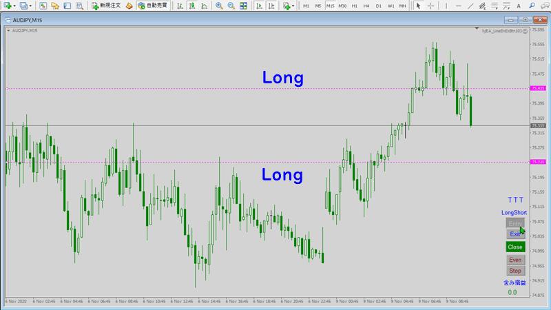 ボタンクリックでライン引き、ラインタッチでエントリー・エグジットEA|Long指値逆指値