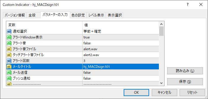 MACD・シグナル、MACD・0ラインクロス、ヒストグラム反転通知インジケーター|複数使用例1