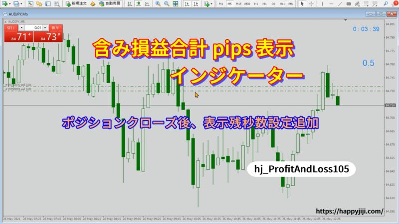 含み損益合計pips表示インジケーターv1.05