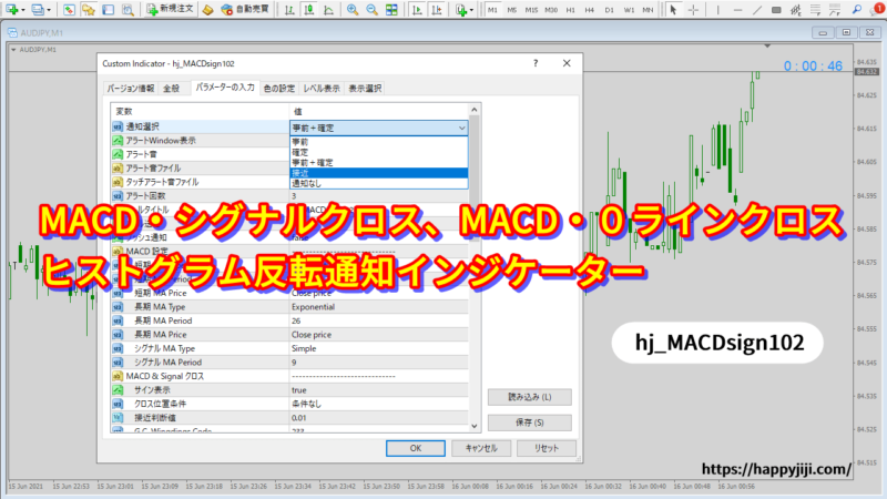 MACD・シグナル、MACD・0ラインクロス、ヒストグラム反転通知インジケーターv102