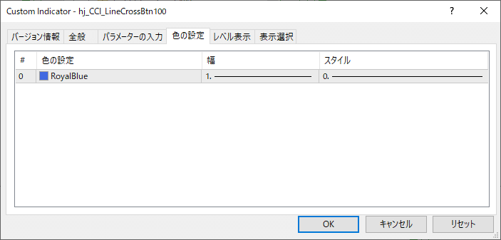 CCI設定ラインタッチ、クロス確定通知インジケーターボタン版名称変更v100|ライン色設定パラメーター